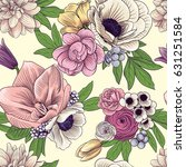 seamless flowers pattern | Shutterstock .eps vector #631251584