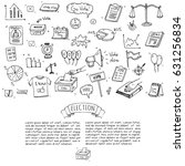 hand drawn doodle vote icons... | Shutterstock .eps vector #631256834