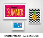 set realistic white frame on... | Shutterstock .eps vector #631258058