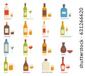 set of vector alcohol icons in... | Shutterstock .eps vector #631266620