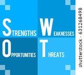swot blue four blocks  | Shutterstock . vector #631268498