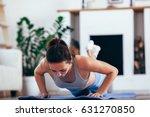 women exercise indoor at home...   Shutterstock . vector #631270850
