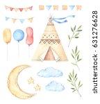 watercolor illustrations   kids ... | Shutterstock . vector #631276628