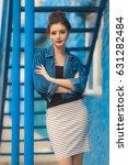 stylish pretty woman in striped ...   Shutterstock . vector #631282484