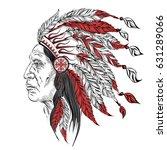 man in the native american... | Shutterstock . vector #631289066