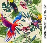 seamless pattern of tropical... | Shutterstock . vector #631289759