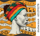 girl in turban with african... | Shutterstock . vector #631293278