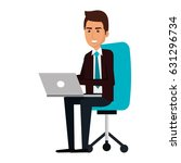 businessman in office chair... | Shutterstock .eps vector #631296734