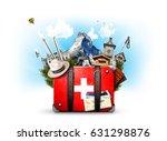 switzerland  retro suitcase...