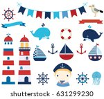 nautical vector design elements ... | Shutterstock .eps vector #631299230