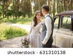 wedding couple in rustic style... | Shutterstock . vector #631310138