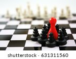 Small photo of Beautiful chess pieces and red ludo figurine concept for many topic. Leadership, defense, competitive, influence, government...