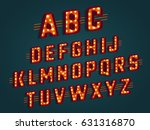 retro 3d alphabet with light... | Shutterstock .eps vector #631316870