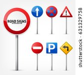 road signs collection isolated... | Shutterstock .eps vector #631329758