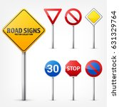 Road Signs Collection Isolated...