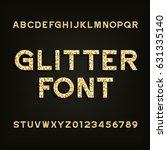 golden glitter alphabet font....   Shutterstock .eps vector #631335140