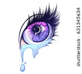 crying eye in anime or manga... | Shutterstock .eps vector #631345634