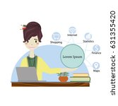 woman working in office and...   Shutterstock .eps vector #631355420