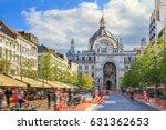 Beautiful colorful view of the historic monumental landmark Antwerp Central Station in Antwerp, Belgium, seen from the Keyserlei street in summer