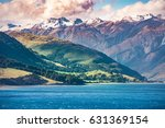 green and snow mountain in... | Shutterstock . vector #631369154