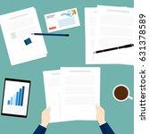 hold paper document business... | Shutterstock .eps vector #631378589