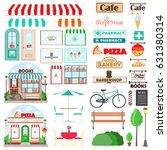 set of shop facade and exterior ... | Shutterstock .eps vector #631380314