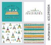 set of stylish outdoor cards...   Shutterstock .eps vector #631390004