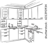 kitchen interior drawing ... | Shutterstock .eps vector #631393934