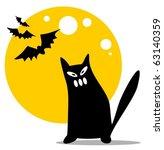 halloween black cat and moon on ... | Shutterstock .eps vector #63140359