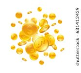 falling down gold coins with... | Shutterstock . vector #631412429