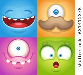cartoon monster faces | Shutterstock .eps vector #631415378