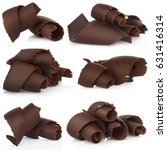 chocolate shavings set on white ... | Shutterstock . vector #631416314
