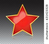 red star with gold metal rim... | Shutterstock .eps vector #631423328