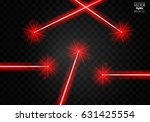 set abstract red laser beams.... | Shutterstock .eps vector #631425554