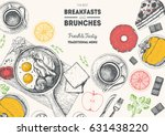 breakfasts and brunches top... | Shutterstock .eps vector #631438220