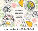 breakfasts and brunches top... | Shutterstock .eps vector #631438244