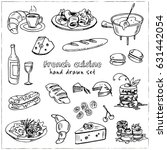 hand drawn french cuisine food... | Shutterstock .eps vector #631442054