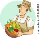 illustration of a farmer or... | Shutterstock .eps vector #631443404