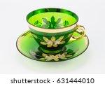 antique transparent green glass ... | Shutterstock . vector #631444010