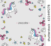 vector cartoon cute unicorns... | Shutterstock .eps vector #631449278