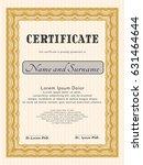 orange sample certificate.... | Shutterstock .eps vector #631464644