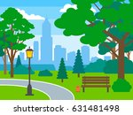 beautiful city park with trees... | Shutterstock .eps vector #631481498