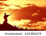 fighter with a sword silhouette ... | Shutterstock . vector #631482674