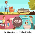 motherhood daily activities 2... | Shutterstock .eps vector #631486016