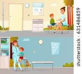 kid visits doctor horizontal... | Shutterstock .eps vector #631486859