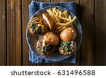 three turkey burger sliders... | Shutterstock . vector #631496588