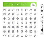 set of 56 healthy food line... | Shutterstock .eps vector #631500299