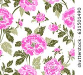 seamless background with peony... | Shutterstock .eps vector #631501490