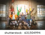 mixed race group of teenagers... | Shutterstock . vector #631504994