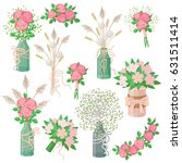 set of flat bouquets isolated... | Shutterstock .eps vector #631511414